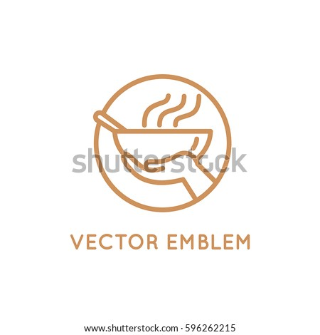 Vector design template - food sharing - giving food for the poor and refugees - emblem for charity and volunteer organizations feeding people