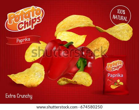 Vector design template for Chips advertising. Package with place for design. Paprika chips on light background. 3d illustration