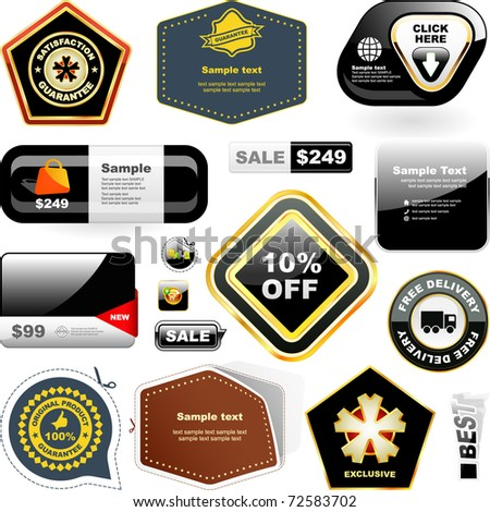 Vector design template for design. Bonus label and web buttons. Great collection.