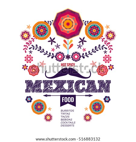 Shutterstock Vector design template for Mexican restaurant. Mexican food