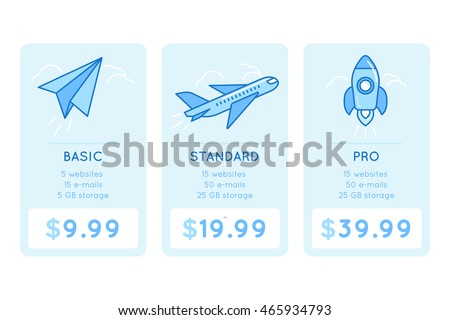 Vector design template for pricing table for website with icons and illustrations in linear style - different subscription plans for businesses - basic, standard and pro