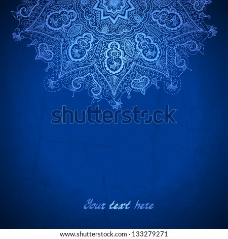 Vector design template White circle ornament on blue background Ethnic motif