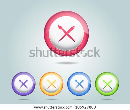 Vector Design Tool Brush Pen Icon/Button and multicolored