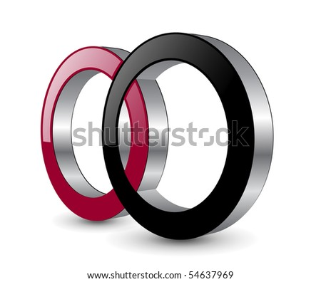 Vector design, two circles red and black.