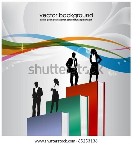 vector design with business people standing on books