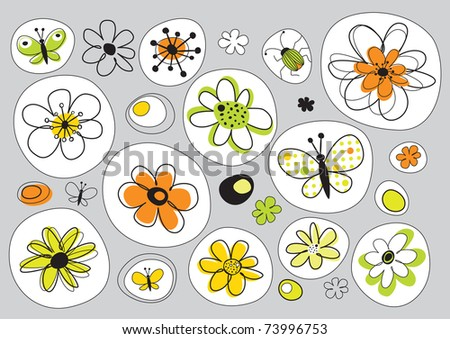 vector design with flowers painted