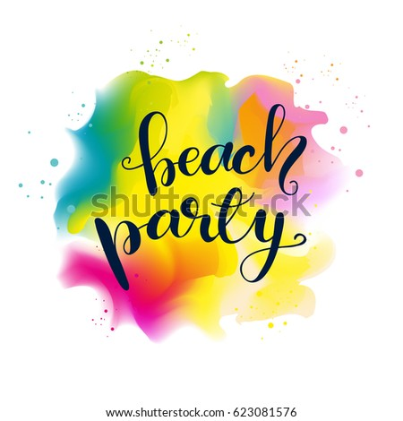 """Vector design with lettering """"Beach party"""". #623081576"""