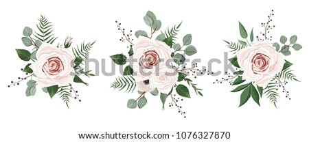 Vector designer elements set collection of green eucalyptus, art foliage natural leaves herbs in watercolor style. Decorative beauty elegant illustration for design #1076327870