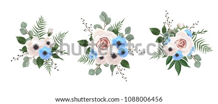 Vector designer elements set collection of green eucalyptus, art foliage natural leaves herbs in watercolor style. Decorative beauty elegant illustration for design #1088006456