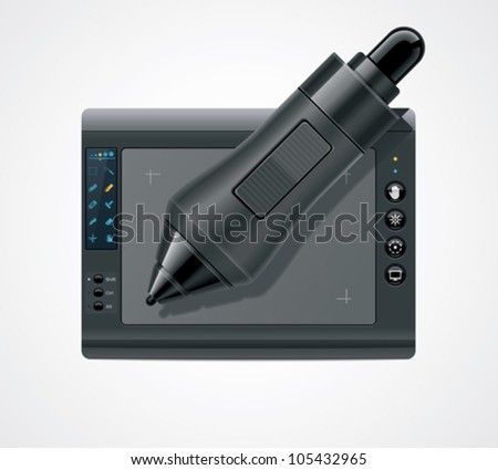 Vector designers graphic tablet and pen icon