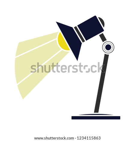 vector desk spotlight isolated icon - light bulb illustration vector - office light sign symbol