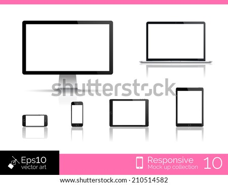 Vector desktop computer blank mock up. Glossy laptop computer mock up. Modern tablet  computer mock up. Perfectly detailed smartphone mock up near computer blank. Mockup set for responsive web design