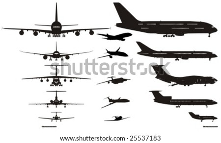 Vector detail airplanes silhouettes set. More vector aircrafts see in my portfolio.