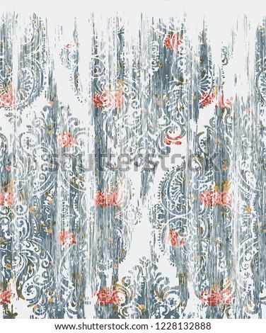 Vector, detailed abstract texture or grunge ; For art texture, vintage, ethnic , modern     damask pattern , carpet, rug, scarf, clipboard , shawl pattern. colors are blue and ocean blue