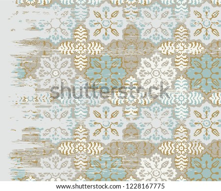 Vector, detailed abstract texture or grunge ; For art texture, vintage, ethnic , modern  motifs  pattern , carpet, rug, scarf, clipboard , shawl pattern. colors are blue and ocean blue