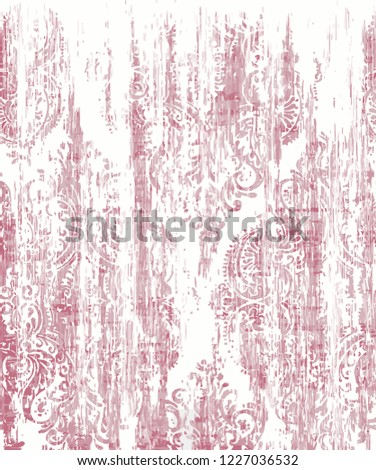 Vector, detailed abstract texture or grunge ; For art texture, vintage, ethnic , modern seamless damask pattern , carpet, rug, scarf, clipboard , shawl pattern. colors are pink and powder pink