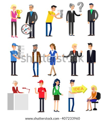 Vector detailed characters people, business people men and women in action. Business people shake hands, with a briefcase, secretary, big boss, startup man, colleagues, business people lifestyle
