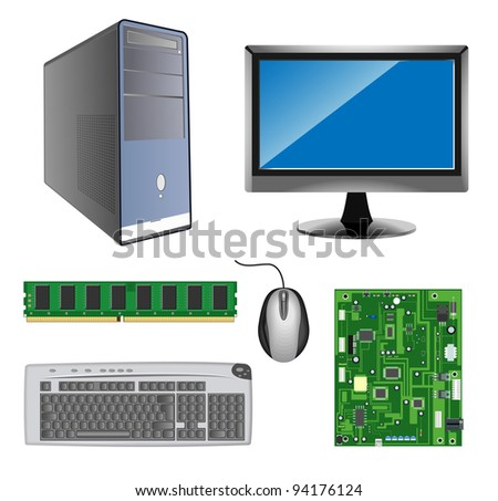vector detailed computer hardware icons on white background, raster version available