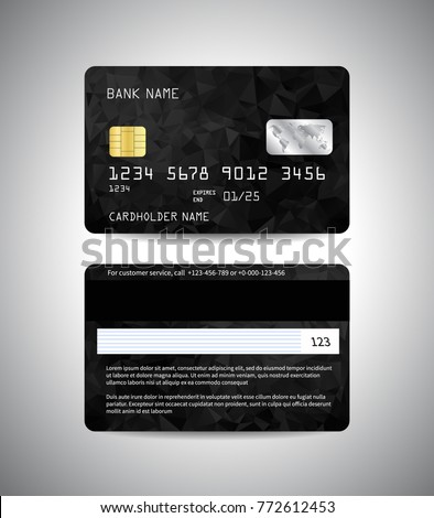 Vector detailed credit cards set with black triangular abstract background. Front and back side template. Money, payment symbol. Vector illustration EPS10