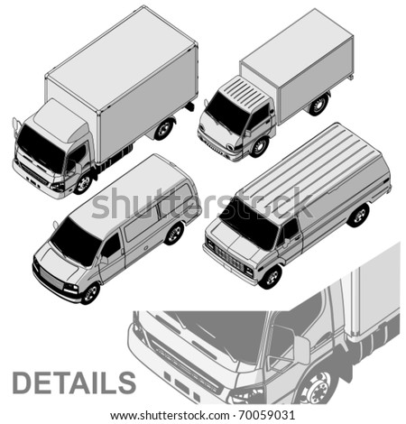 Vector detailed delivery van isometric set