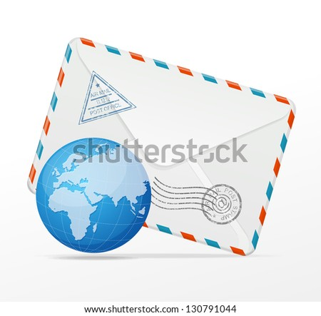 Vector detailed envelope and globe
