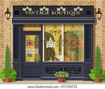 Vector detailed flat design vintage boutique facade. Cool graphic fashion shop exterior.