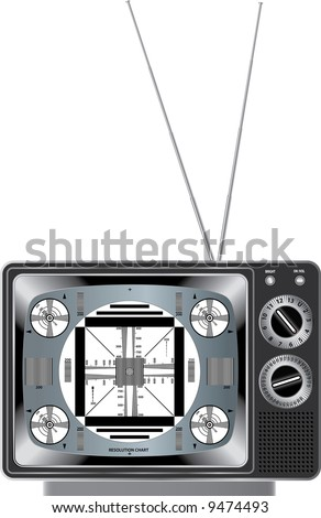 vector detailed illustration vintage television with test signal