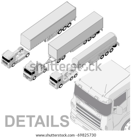 Vector detailed semi-truck set