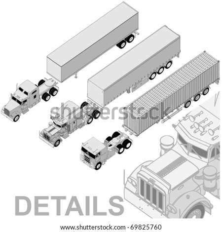 Vector detailed semi-truck set