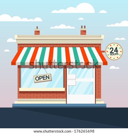 Vector Detailed Shop, Market, Store, Cafe Illustration, Icon