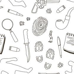 Vector detective crime icons set pattern