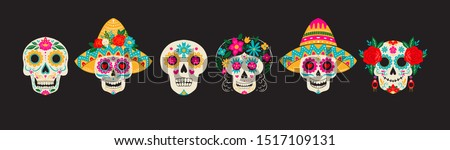 Vector Dia de Los Muertos, Day of the Dead or Mexico Halloween sculls collection. Decoration with sambrero and flowers. Vector illustration background.
