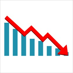 Vector diagram with the red arrow going down. Vector icon isolated on white background. Business failed symbol