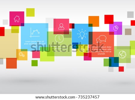 Vector diagram with various descriptive squares - infographic template