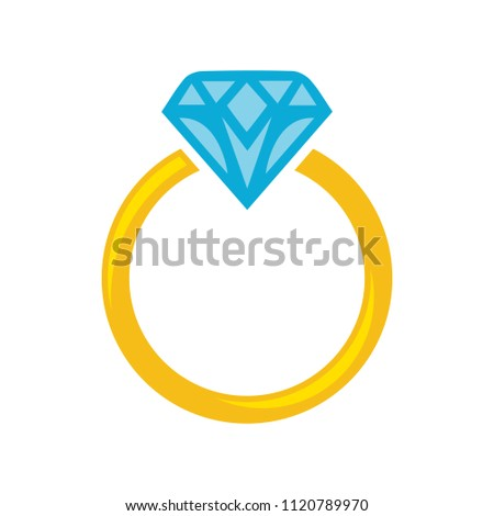 Vector diamond Ring - wedding or engagement illustration, diamond ring symbol