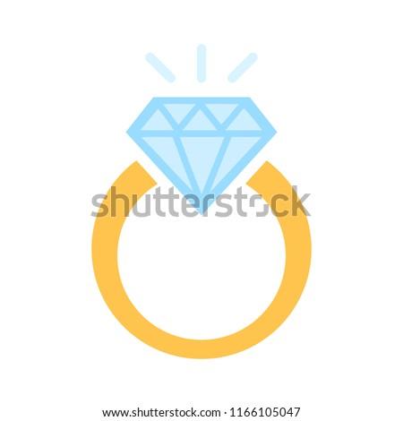 Vector diamond Ring - wedding or engagement illustration, diamond ring symbol