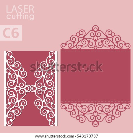 Vector die laser cut envelope template. Wedding lace invitation mockup. Vector die laser cut wedding card template. Invitation envelope.