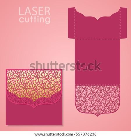 Vector die laser cut envelope template. Wedding lace invitation mockup. Vector die laser cut wedding card template. Invitation envelope.