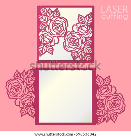 Vector die laser cut envelope template with rose flower. Wedding lace invitation mockup. Cutout paper gate fold card for laser cutting or die cutting template.