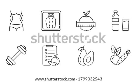 Vector diet icons. Linear icon slimming weight loss editable stroke. Slim waist scales water, apple measurement sport fitness exercise. Diet compilation calorie count vegetables avocado fruits Foto stock ©