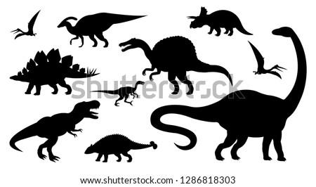 vector different black dinosaur