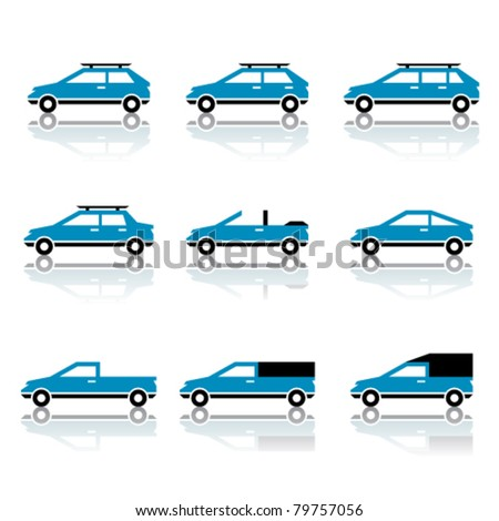 vector different car body style icons