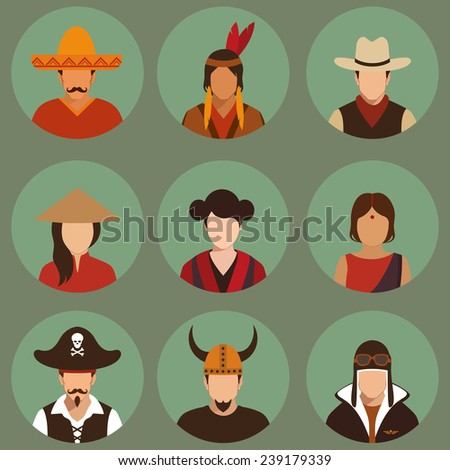 vector different characters pirate, pilot, cowboy, viking, mexiacn, indian, american and asian people faces,