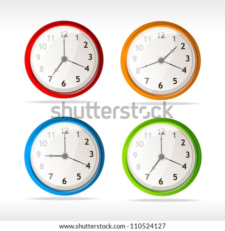 Vector different color timer icons