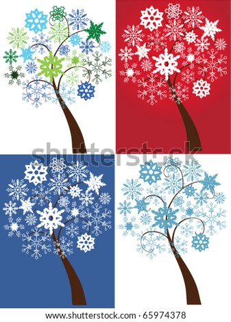 vector different snow trees