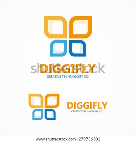 vector digital butterfly logo
