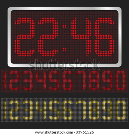 Vector digital clock with red and yellow digits - stock vector