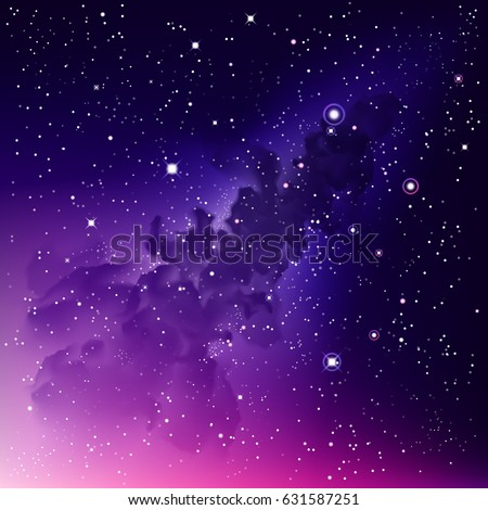 Vector Digital colorful Illustration. Astrology purple background. Outer Space square bright backdrop. Night magenta sky fond. Stars. Watercolor pink galaxy. Milky Way. Nebula. Cosmic dust. Path
