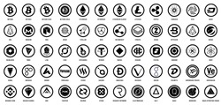Vector digital currencies black logos in circles on white background