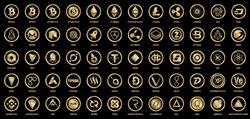 Vector digital currencies gold logo signs on black background